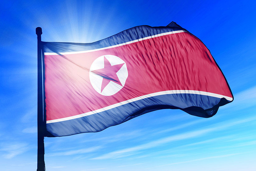 North Korea flag waving on the wind Nordkorea Nord Korea